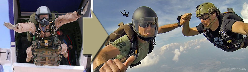 Military to civilian skydiving fun